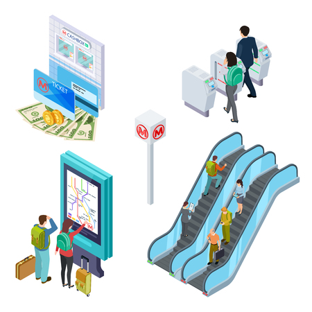 Isometric metro elements. Subway escalator, turnstile, info desk with people. 3d underground isometric transportation, station and turnstile illustration Illustration
