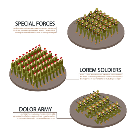 Army, military, soldiers isometric info banners vector design. Illustration of military infantry, army soldier in uniform