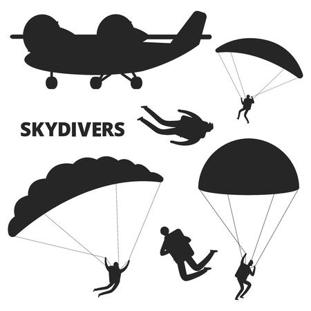 Flugzeug- und Fallschirmspringer-Vektor-Silhouetten auf weißem Hintergrund. Fallschirmspringen und Flugzeug, Fallschirmspringerflug schwarze Silhouette Illustration