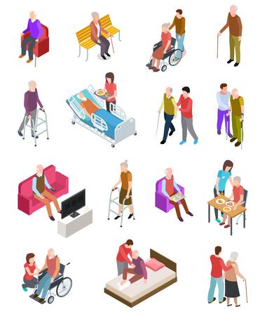 Gli anziani isometrica. Persone anziane, aiutante infermiere. Terapia medica domiciliare per anziani. Persone in sedia a rotelle. Insieme di vettore di gerontologia 3D. Terapia di cura, salute medica per l'illustrazione del personaggio anziano Vettoriali