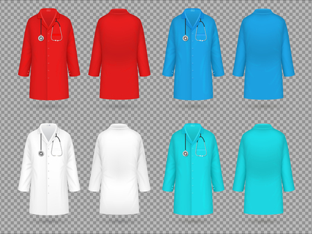 Doctor coat. Colorful lab uniform, doctor medical laboratory clothes vector 3d realistic isolated mockups. Uniform medical and medicine shirt illustration Stock Illustratie