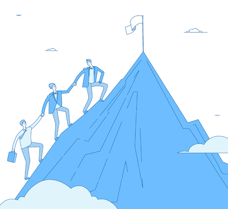 Men climb mountain. Success leader with team go up top successful winner. Business reaching, leadership achievement vector concept. Successful business team go climb to rock illustration Ilustracja