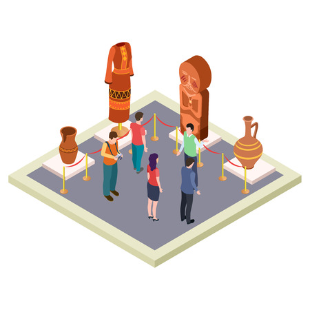 Exhibition of antiquities, art gallery isometric vector concept. Isometric museum exhibit with ancient culture illustration 向量圖像