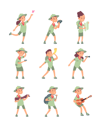 Kids in scout costumes. Young scouts boys and girls have adventure in summer camping. Cute children vector cartoon characters. Illustration of scout character, young boy and girl
