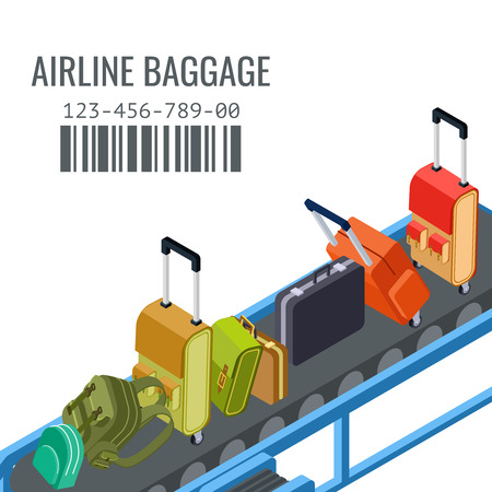 Belt transporter with different airline baggage isometric vector background. Luggage isometric, baggage conveyor illustration  イラスト・ベクター素材