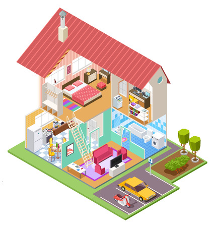 Cutaway house isometric. Housing construction cross section with kitchen bedroom bathroom interior. 3d vector house inside. Bathroom and kitchen isometric interior in home building illustration Stock Illustratie
