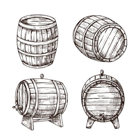 Schets vaten. Whisky eiken vaten. Houten wijnvat in vintage graveerstijl. Bar, pub en brouwerij vector teken geïsoleerd. Illustratie van vathout, wijnmakerijdrank en whiskyvat Vector Illustratie