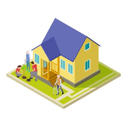 Volunteers help an older couple with garden work isometric vector illustration. Volunteer help older people Illustration