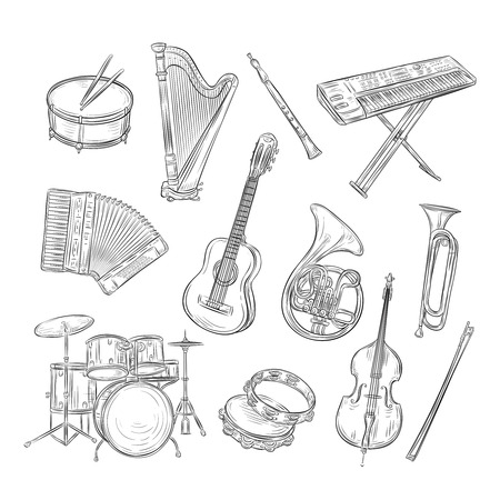 Sketch musical instruments. Drum harp flute synthesizer accordion guitar trumpet cello. Music vintage outline hand drawn vector set. Drum and trumpet, outline cello and guitar illustration