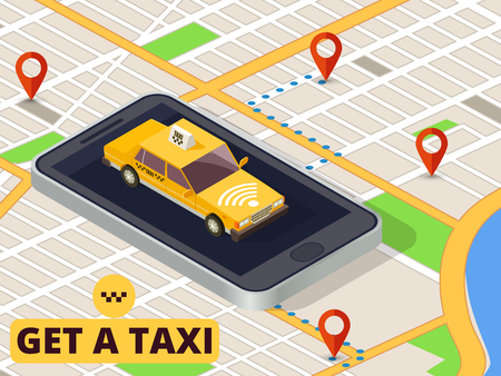 Isometric mobile taxi. Online taxi service and payment with smartphone app on city map vector. Taxi car app, city service transport illustration Vectores