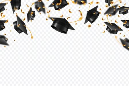 Confeti de gorras de graduación. Sombreros de estudiantes voladores con cintas doradas aisladas. Universidad, fondo de vector de educación de la escuela universitaria. Estudiante de gorras universitarias, ceremonia de premiación ilustración. Ilustración de vector
