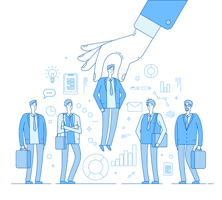 Choice employer. Hand choosing man from selected people group. Human recruitment hunting, selecting choicing candidate vector concept. Illustration of recruitment worker, resource human
