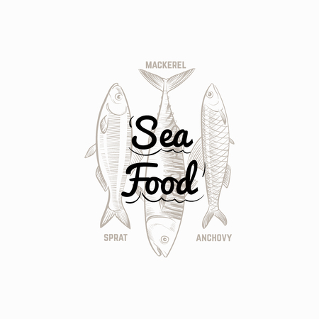 Fish products sign with hand drawn fish mackerel, sprat, anchovy vector design. Illustration of mackerel, sprat and anchovy 向量圖像