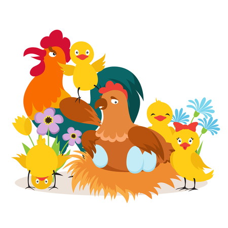 Cartoon cute chicken family with babies vector illustration. Illustration of poultry character, chicken mother and yellow chick 向量圖像