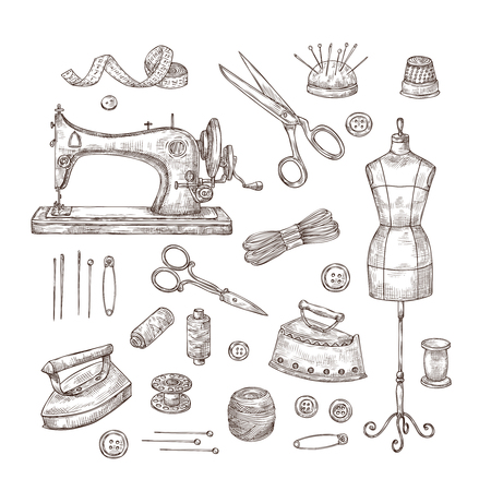 Tailor shop. Sketch sewing tools materials vintage clothes needlework textile industry stitching tailor handicraft vector set. Needlework and handicraft, tailoring and sewing illustration Векторная Иллюстрация