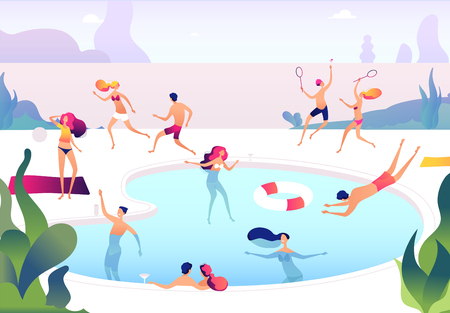 People at swimming pool. Persons swim dive in summer pool relaxing sunbathing family women men water games summer party vector concept. Illustration of summer swimming pool