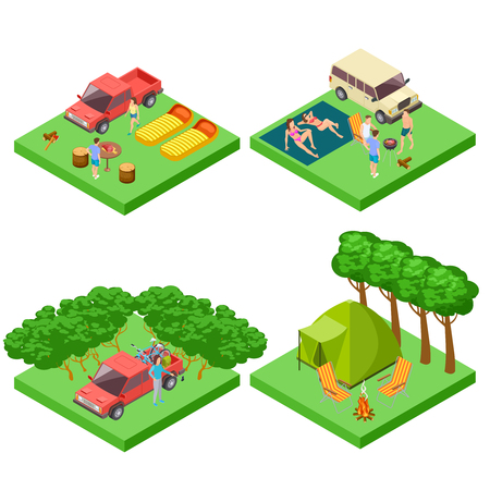 Vector isometric 3d camping location of set. Campsite for camping, picnic with bbq and sunbathe illustration Illustration