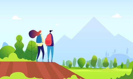 Couple de randonneurs. Jeune femme randonnée dans le paysage naturel. Homme et femme touristes, randonneurs en été en plein air concept de dessin animé vectoriel. Illustration de jeune femme et homme en randonnée en montagne Vecteurs