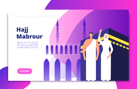Hajj concept. Umrah hajj pray saudi people prayers mabrour muslims travel makkah al haram modern flat vector mecca kaaba background. Pilgrimage near mosque, muslim mecca illustration