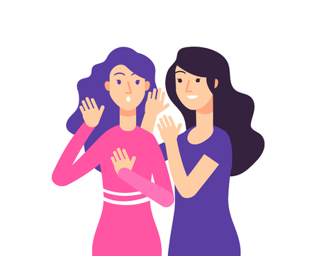 Secret. Female speaking rumor gossip whisper woman gossiping surprised lady secret whispering vector concept. Illustration of secret female, speak lady whisper
