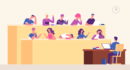 Lecture hall. Students lecturer in lecture room learning young people studying in auditorium. Business coaching seminar vector concept. Illustration of education on lecture, students in college Illusztráció