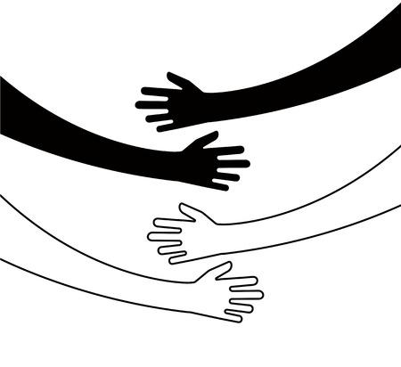 Abrazando las manos. Abrazo de brazo, relación única de unión de creencia abrazó manos vector concepto aislado. El amor y la amistad, la relación abrazan la ilustración. Ilustración de vector