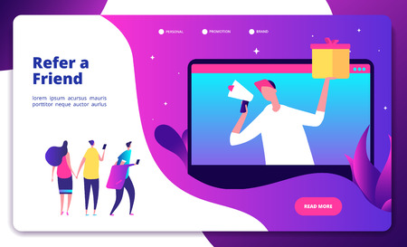 Referral concept. Refer friend recommend friends buzzwords friendly recommendations marketing referrals shouting vector landing page. Referral friend recommend, network business illustration