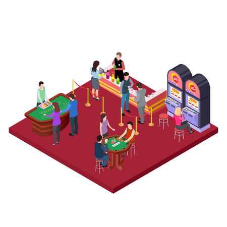 Casino interior with bar area isometric vector concept. Illustration of casino gambling isometric