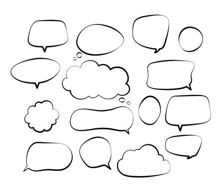 Overzicht tekstballonnen. Doodle toespraak ballon schets hand getrokken Krabbel zeepbel praten wolk komische lijn retro schreeuwen vormen vector set. Illustratie van overzichtsbeltoespraak voor communicatie