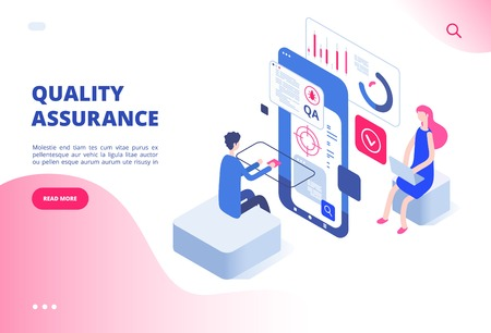 Quality assurance concept. Assured result productive decision analysis inspection software fixing bug system testing vector web page. Illustration of quality assurance control, satisfaction service