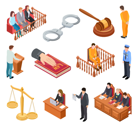 Isometric court of law. Trials defendant witness interrogation jury judge justice accused lawyer criminal legal prisoner vector icons. Illustration of legal justice, judge and lawyer Vektorové ilustrace