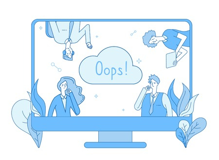 Page not found. Computer network 404 error warning page lost oops mistake message not found problem 404 website vector line design. Oops problem 404 error, blue line white style illustration Иллюстрация