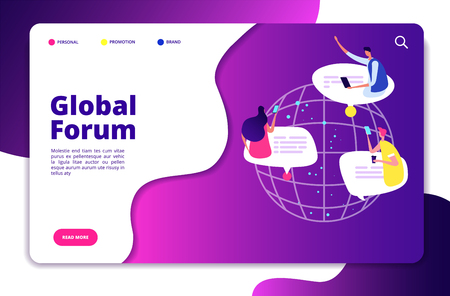 Internet forum concept. People discussion mobile networking communication friend chatting group user email technology vector design. World connect forum, social people connect illustration