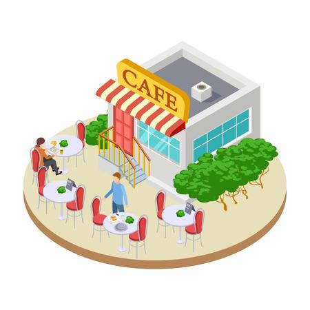 Piccolo caffè di strada carino estivo con illustrazione vettoriale isometrica di tavoli esterni Cafe street, ristorante pubblico urbano all'aperto