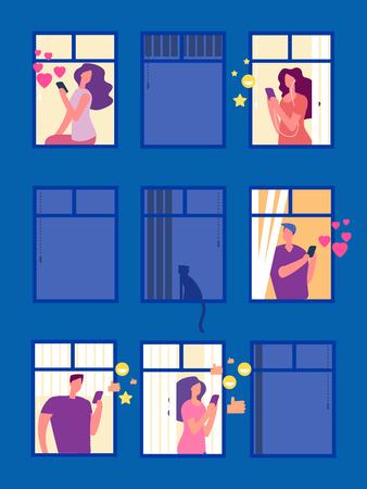 Personas en las redes sociales en la ilustración de vector de ventanas de noche. Ventana de construcción de la ciudad, la mujer y el hombre en la comunicación de la red social. Ilustración de vector