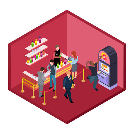 Night club bar with game zone isometric vector illustration. Isometric nightclub with slot machine