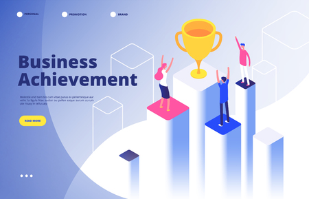 Success team isometric concept. Business triumph achievement corporate mission best award competition winner goal vector background. Illustration of business goal isometric, winner success Illusztráció