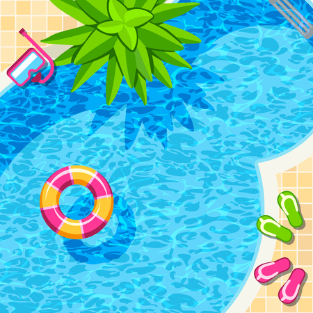 Swimming pool top view for relax vector background. Illustration of summer pool in hotel Banco de Imagens - 123122703