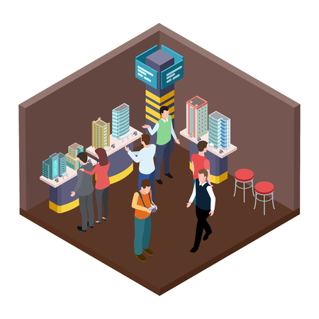 Exhibition of real estate, apartments isometric vector concept. Building 3d architecture isometric, modern model illustration