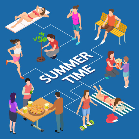 Different summer activity people isometric vector concept. Summer isometric man and woman recreation illustration Illustration