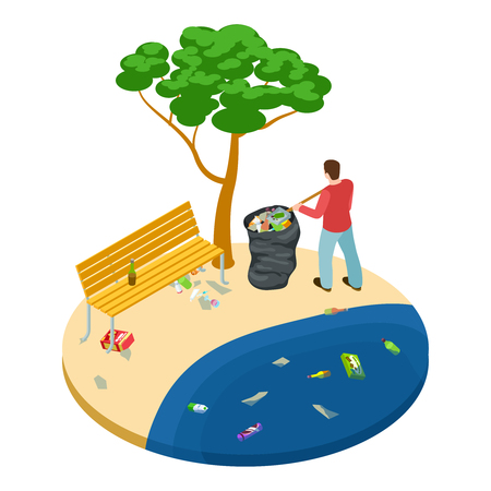Isometric man picks up trash on the beach, water, ocean and nature pollution vector concept. Illustration of man pick up coast of garbage polyethylene