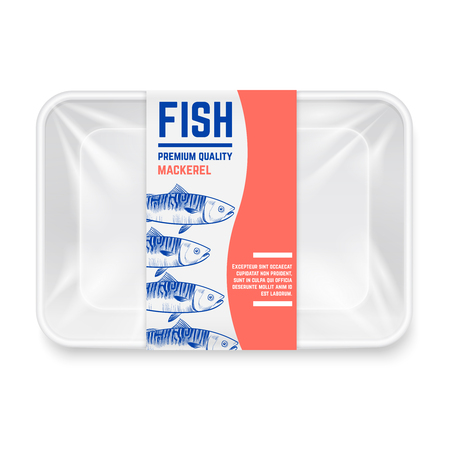 Realistic plastic container with hand drawn mackerel fish label vector design. Container box for mackerel fish illustration Ilustrace