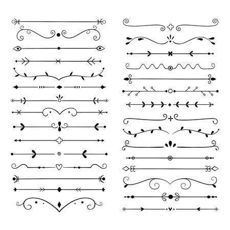 Ornament dividers. Text line vintage design element, wedding decoration separators. Retro drawn book ornamental divider vector set. Illustration of border vintage ornament book