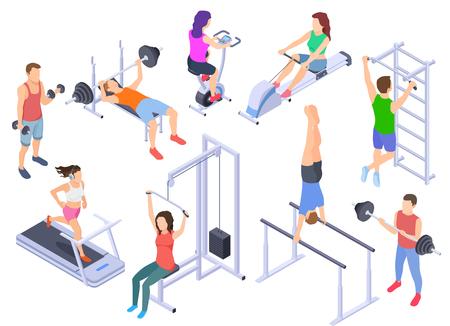 Izometryczny siłowni. Trening ludzi fitness, ćwiczenia fizyczne. Młody trener człowieka, sprzęt sportowy 3d wektor znaków na białym tle. Ilustracja izometrycznego ciała fitness, ćwiczenia na siłowni Ilustracje wektorowe