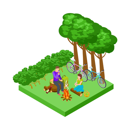 Couple on a romantic picnic, isometric tourism with bicycles vector concept. Couple of love relationship, romance dating illustration Ilustração