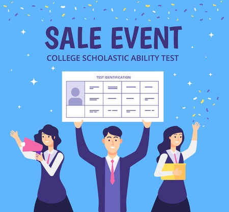 Examinees discount event. Students academic skills college test gift for best students high education entering vector concept. Illustration of discount event, marketing invitation