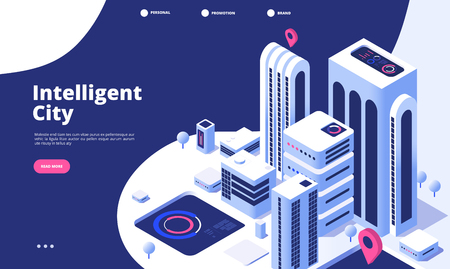 Smart city concept. Urban digital innovation office future city virtual town road smart skyscraper 3d isometric landing vector page. Illustration of smart city isometry web banner