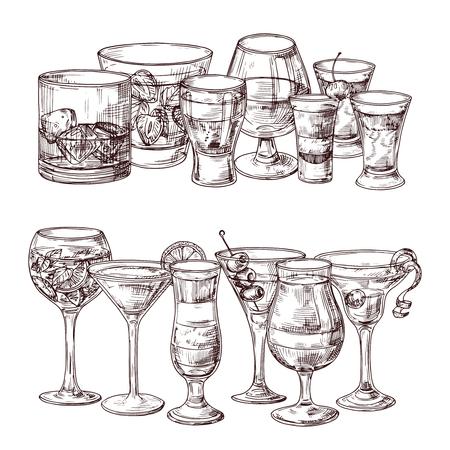 Zestaw naszkicowanych ilustracji wektorowych napojów alkoholowych. Napój płynny, tequila i martini