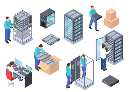 Server room isometric. Information technology server engineer, telecommunication cloud servers, computers and employees vector 3d set. Illustration of room server center, hardware cloud database