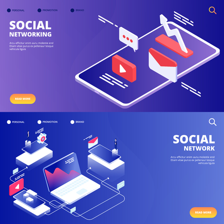 Social network and networking vector landing pages. Illustration of mobile social network